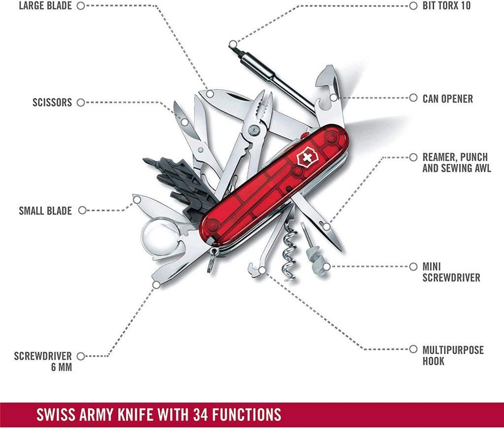 Victorinox V17925.T Navaja suiza Medio Cyber Tool Lite, Acero Inoxidable, Rojo, M